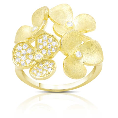 Gold over Sterling Silver Cubic Zirconia Multi Flower Ring