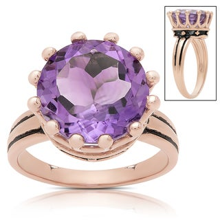 Samantha Stone Rose Gold Over Sterling Silver Simulated Amethyst Crown Design Ring