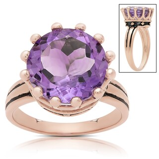 Samantha Stone Rose Gold Over Sterling Silver Simulated Amethyst Crown Design Ring (3 options available)