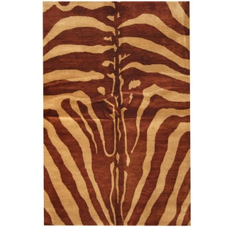 Herat Oriental Indo Hand-tufted Tibetan Brown/ Beige Wool Rug (5'3 x 8')