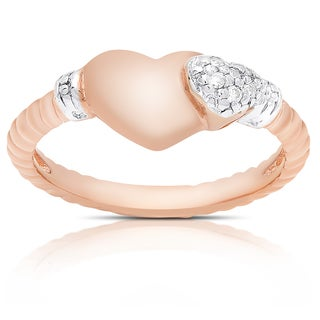 Samantha Stone Rose Gold Over Sterling Silver Cubic Zirconia Heart Ring