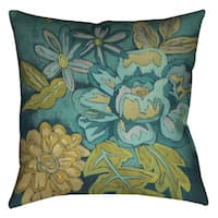 Laural Home Teal Florals II Decorative 18-inch Pillow