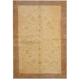Herat Oriental Indo Hand-tufted Tibetan Ivory/ Tan Wool Rug (5'4 x 7'10)