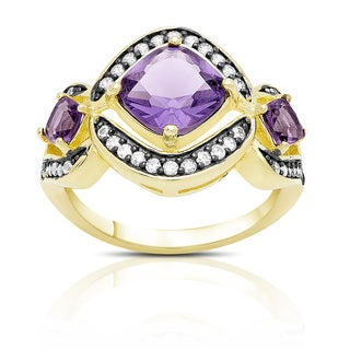 Samantha Stone Gold Over Sterling Silver Cubic Zirconia and Simulated Amethyst Cocktail Ring