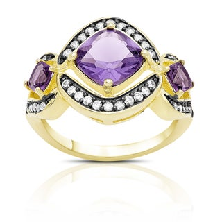 Samantha Stone Gold Over Sterling Silver Cubic Zirconia and Simulated Amethyst Cocktail Ring (3 options available)
