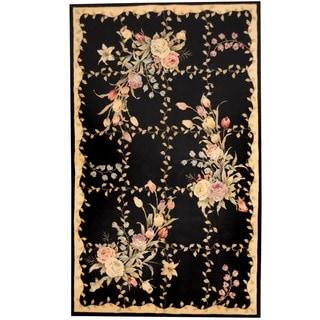 Herat Oriental Indo Hand-tufted Tibetan Black/ Ivory Wool Rug (5' x 8')