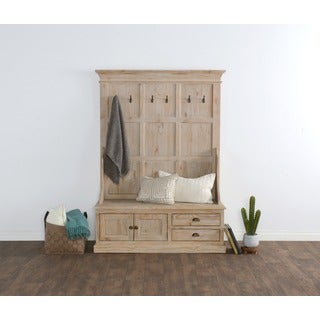Reclaimed Pine Storage Bench with Hooks, Drawers, and Cabinet - Beige