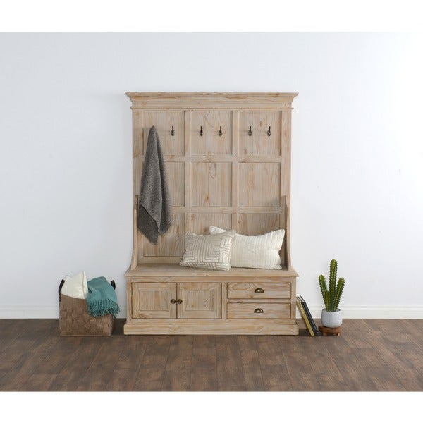 Shop Reclaimed Pine Storage Bench With Hooks Drawers And Cabinet Free Shipping Today Overstock 11723500