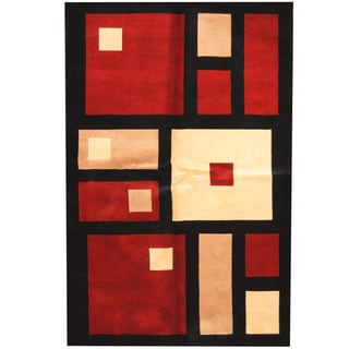 Herat Oriental Indo Hand-tufted Tibetan Black/ Red Wool Rug (5'3 x 8')