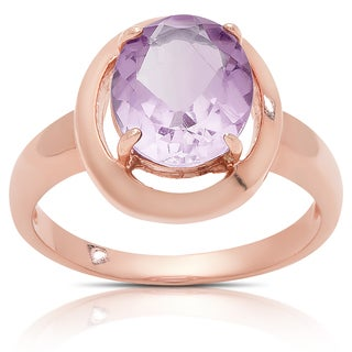 Dolce Giavonna Rose Gold Over Sterling Silver Oval Amethyst Solitaire Ring