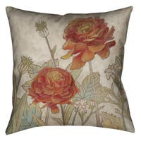 Laural Home Red Blooms II Decorative 18-inch Pillow