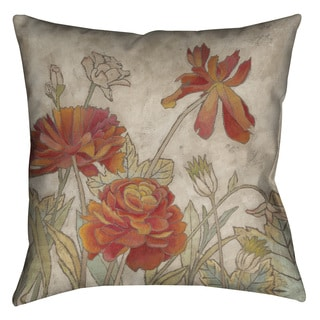 Laural Home Red Blooms I Decorative 18-inch Pillow