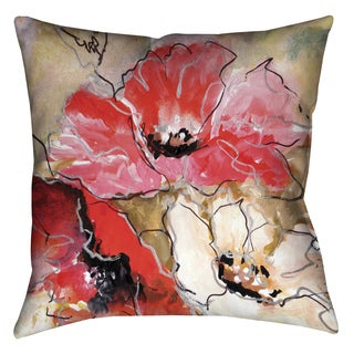 Laural Home Red Poppies Decorative 18-inch Throw Pillow