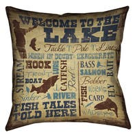 Laural Home Lake Words Decorative 18-inch Pillow