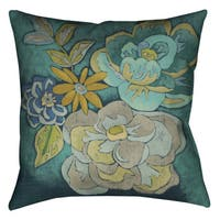 Laural Home Teal Florals I Decorative 18-inch Pillow
