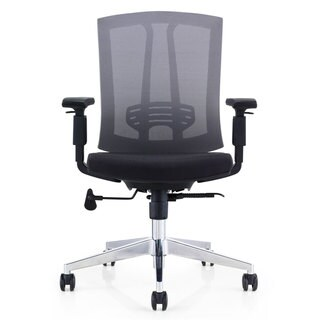 GM Seating Hampton Lota Mid-Back Work Chair with Mesh Back and Polished Aluminum Base for Office or