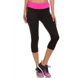 Pink Mint Mesh Paneled Sport Capri Leggings with Colored Waistband