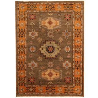 Herat Oriental Indo Hand-knotted Tribal Kazak Brown/ Orange Wool Rug (4'9 x 6'8)