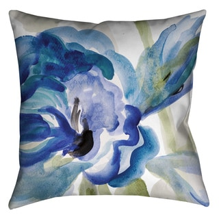 Laural Home Blue Watercolor Flower Decorative 18-inch Pillow