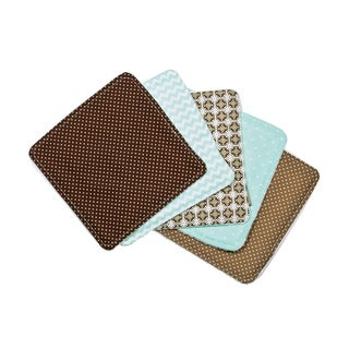 Trend Lab Cocoa Mint 5 Pack Baby Wash Cloth Set
