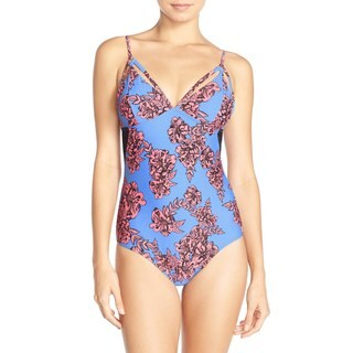 Minkpink Living In Lilac Floral One-Piece Swimsuit