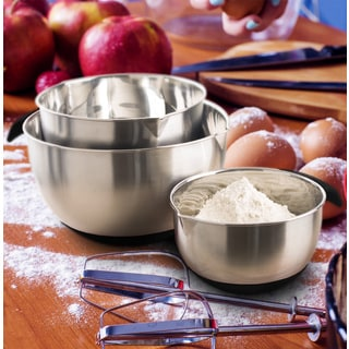 Culinary Edge by Kalorik Stainless Steel Mixing Bowl 3-piece Set Black