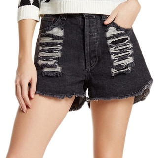 Minkpink Brittle Hearts Slasher Denim Cutoff Shorts