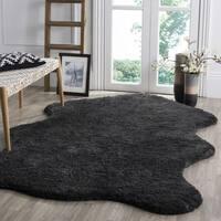 Safavieh Handmade Sheep Shag Charcoal Polyester Rug (3' x 5') - 3' x 5'