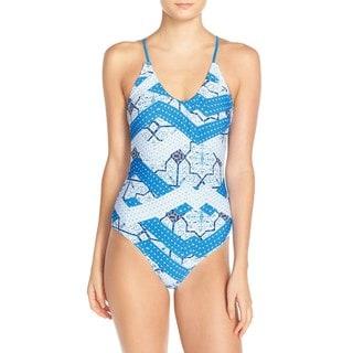 Minkpink Indigo Waters Blue Geometric Print Swimsuit