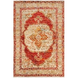 Safavieh Hand-Knotted Tangier Red Orange/ Beige Wool Rug (4' x 6')