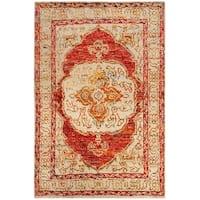 Safavieh Hand-Knotted Tangier Red Orange/ Beige Wool Rug - 4' X 6'