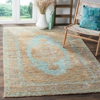 Safavieh Hand-Knotted Tangier Seafoam/ Beige Wool Rug (4' x 6')