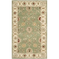 Safavieh Hand-hooked Total Perform Green/ Ivory Acrylic Rug - 3' x 5'