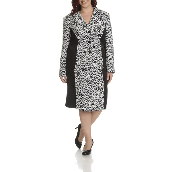 d1ac79a2d008c Shop Danillo Women s Plus Size Leopard Printed Skirt Suit - Ships To ...