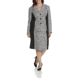 Danillo Women's Plus Size Leopard Printed Skirt Suit