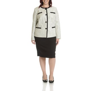 Danillo Women's Plus Size Contrast Twill 2-Piece Skirt Suit