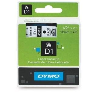 DYMO D1 Standard Tape Cartridge, 1/2in x 23ft, Black on White