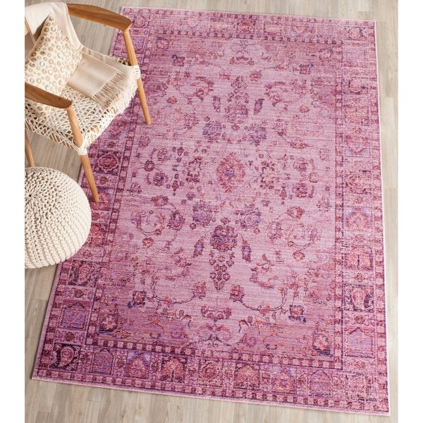 Safavieh Valencia Pink/ Multi Overdyed Distressed Silky Polyester Rug - 4' x 6'
