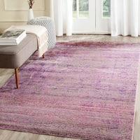 Safavieh Valencia Lavender/ Multi Overdyed Distressed Silky Polyester Rug - 4' x 6'