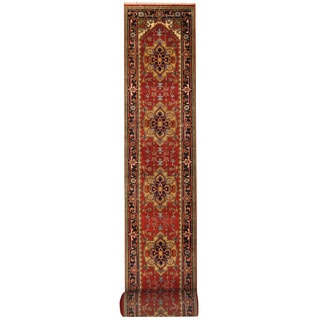 Herat Oriental Indo Hand-knotted Serapi Red/ Navy Wool Runner (2'7 x 29'9)