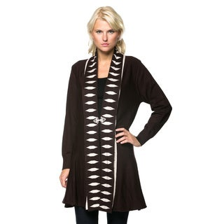 High Secret Women's Embellished Knit Solid Open Front Cardigan