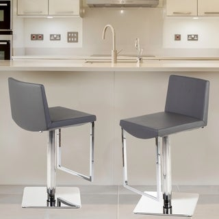 Hans Andersen Home Caitriona Grey Leatherette Adjustable Bar Stool