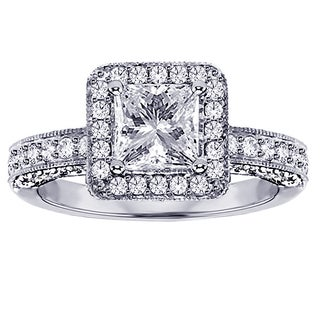 14k/18k White Gold 2 1/4 CT Princess-Cut Designer Engagement Ring (G-H, SI1-SI2)