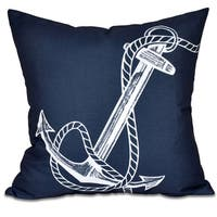 Anchored Geometric Print 20 x 20-inch Outdoor Pillow