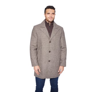 Kenneth Cole Men's Novelty Black/Brown Polyester/nylon/Wool Car Coat with Knit Bib
