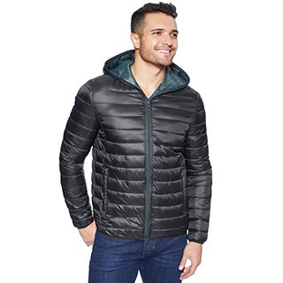 Kenneth Cole Men's Two-tone Faux Down Packable Hooded Jacket
