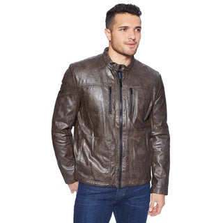 Kenneth Cole Men's Sherpa-lined Faux Leather Hipster Jacket