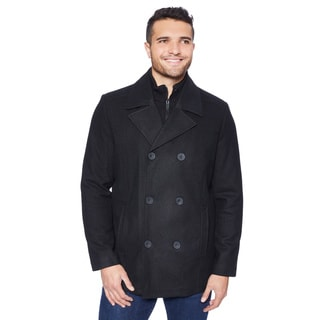 Kenneth Cole Men's Classic Wool Blend Peacoat with Knit Bib
