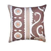 Fia 20 x 20-inch Brown Embroidered Throw Pillow