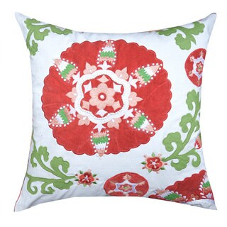 Eleanor 20 x 20-inch Red/ Green/ White Throw Pillow